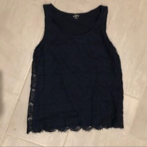 Navy Loft Tank with Lace